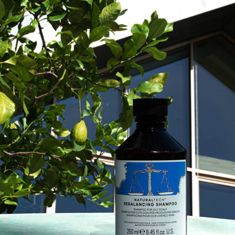 image of davines rebalancing shampoo with a lemon tree