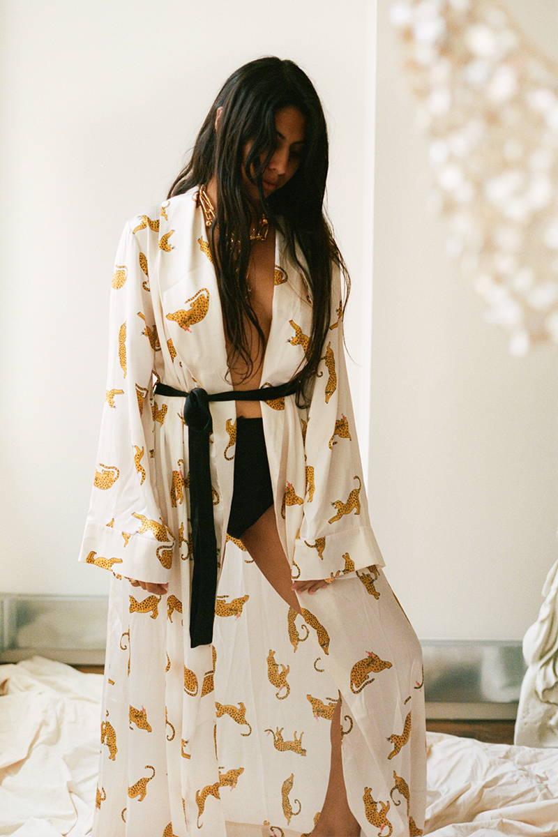 Rosh Mahtani wears YOLKE Silk Prowling Leopard Gown