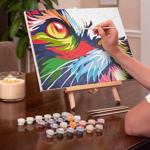 peinture par numéro le chat en cours de réalisation