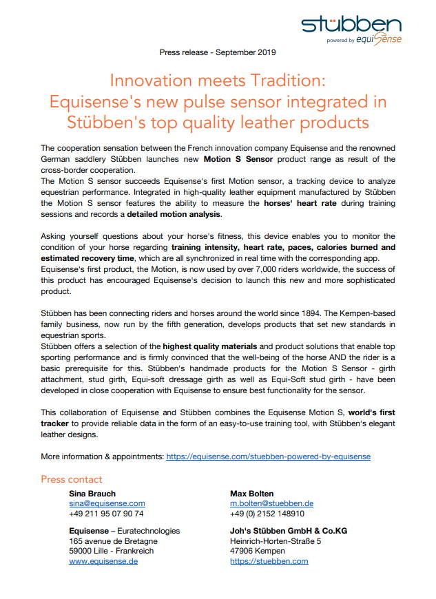 Press Release English Preview Equisense Stübben
