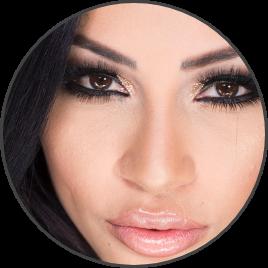 Closeup of beautiful woman with full lips