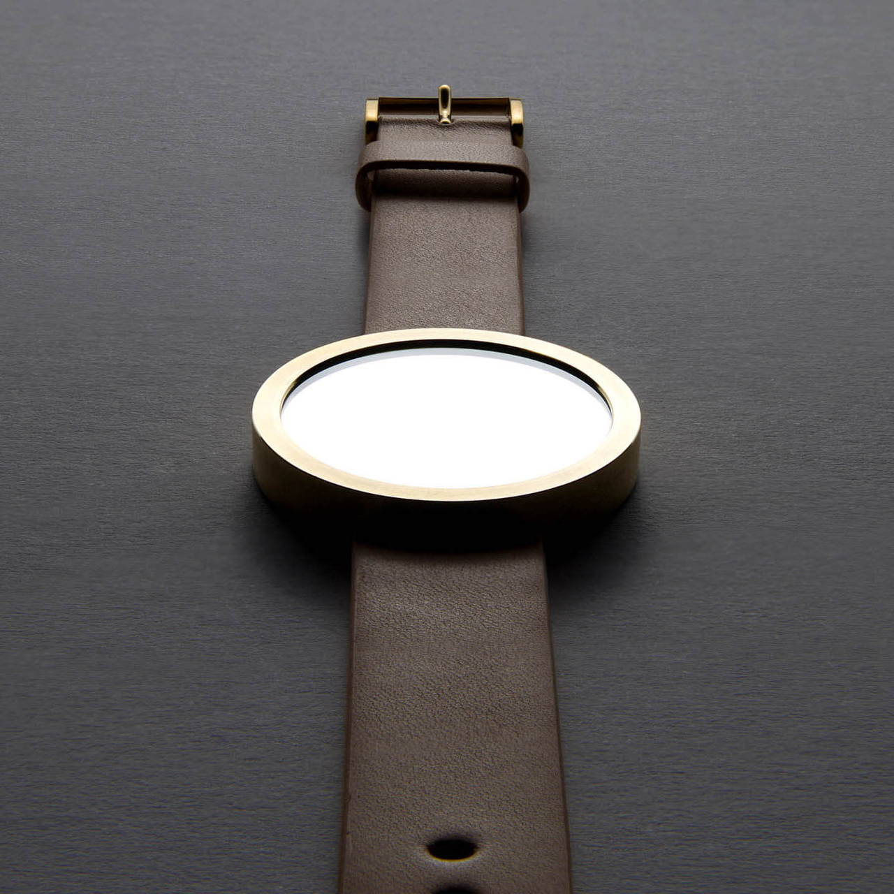 Timeless Wrist Mirror with Brass Case and Tan Leather Strap