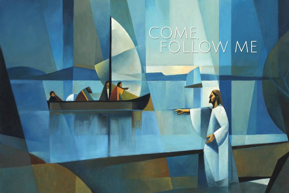 Horizontal, modern LDS art poster of Christ calling to the apostles from the seashore.
