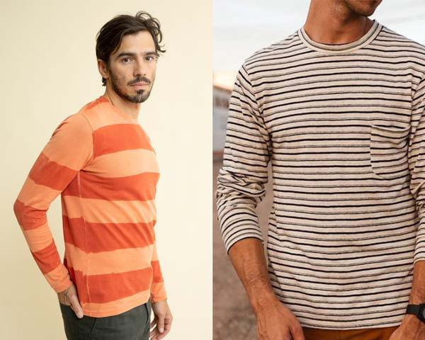 Man wearing striped organic cotton and hemp sustainable long sleeve t-shirt and man wearing striped organic cotton and hemp long sleeve in cream, navy and grey