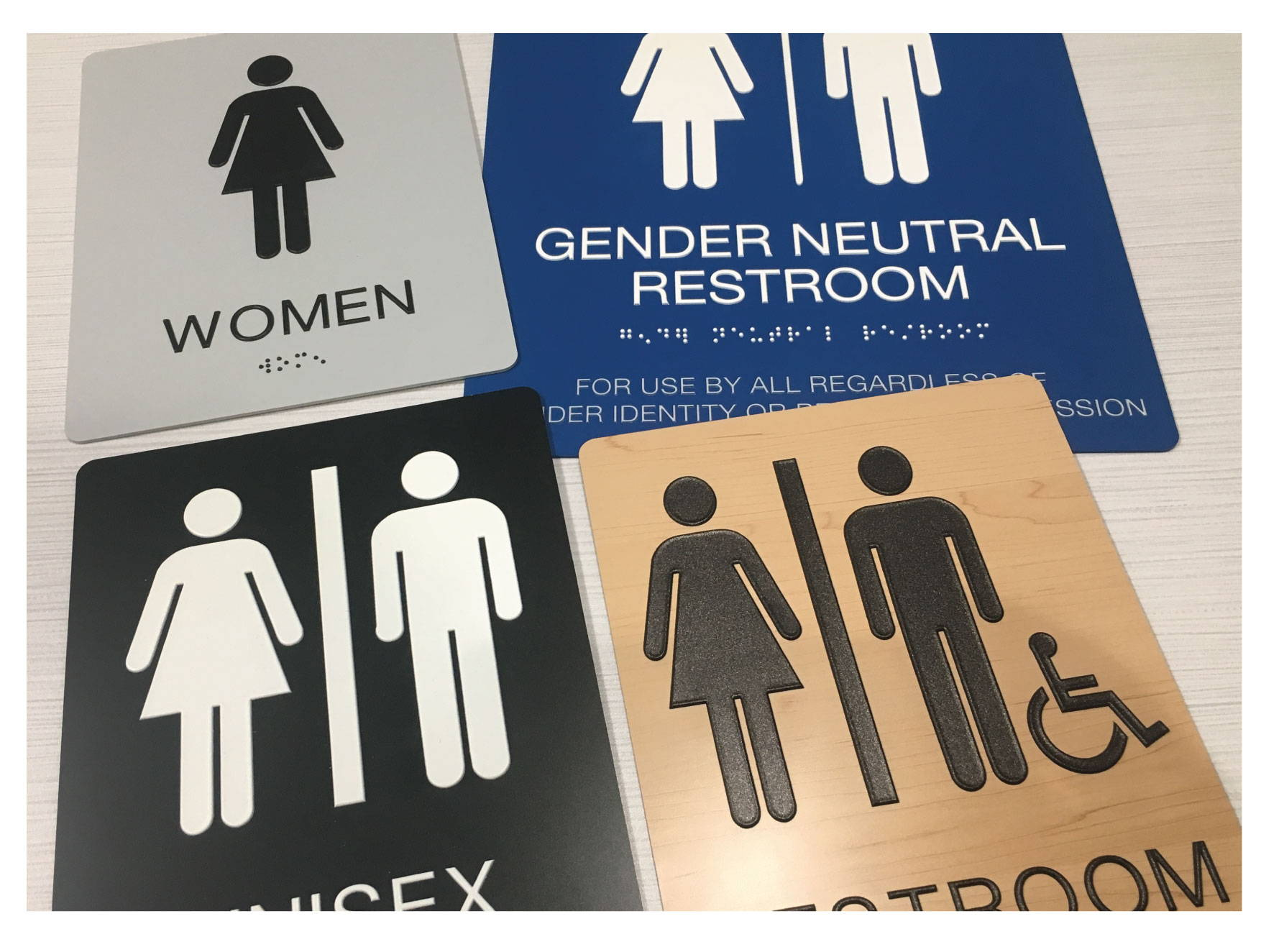 ADA Restroom Signs with Grade II Braille, Compliant ADA Signs