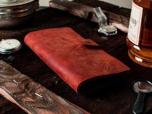 Большое вертикальное портмоне -HUGO- цвет Cognac