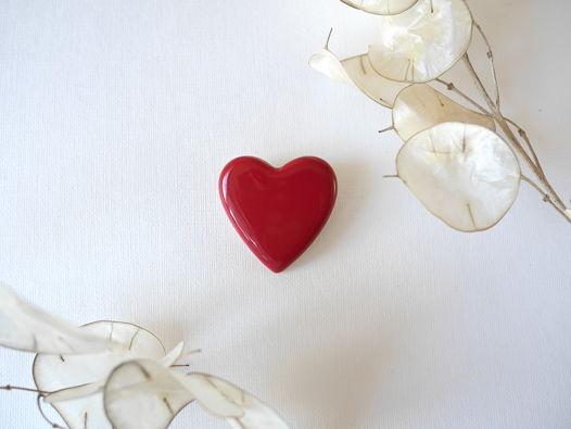 "Брошь ""Сердце"" темно-красная"