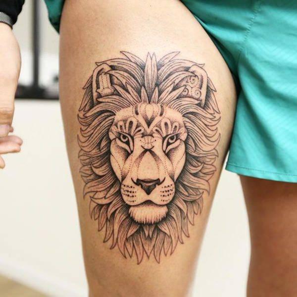 Tatouage Lion Dessin Corps