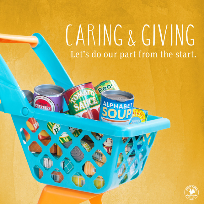 Teal and orange plastic toy shopping cart filled with canned and boxed food items