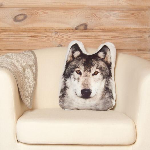 Подушка  Волк – льняная декоративная подушка в виде головы волка