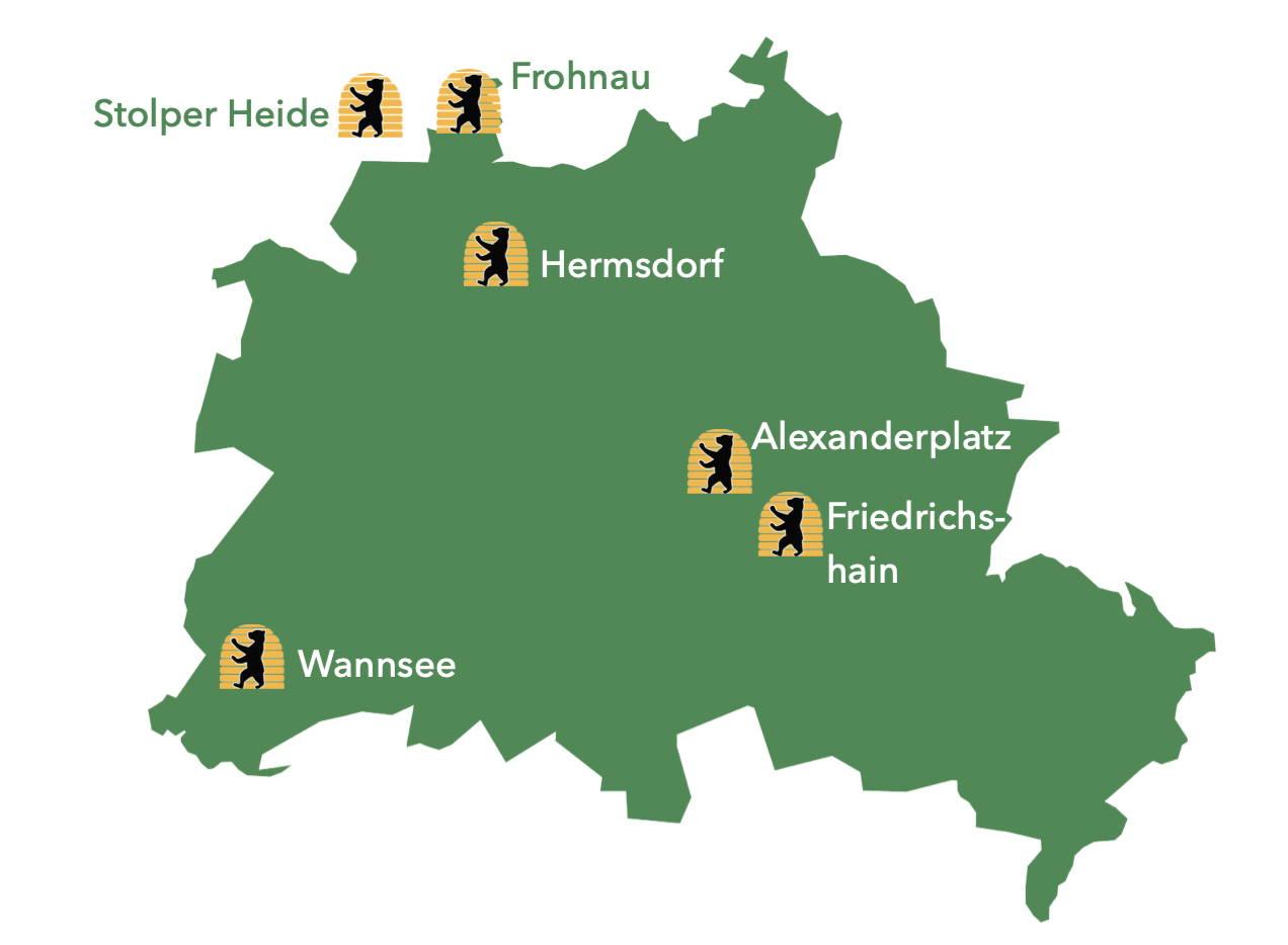 Grafikbild der Bienenstandorte in Berlin und Brandenburg