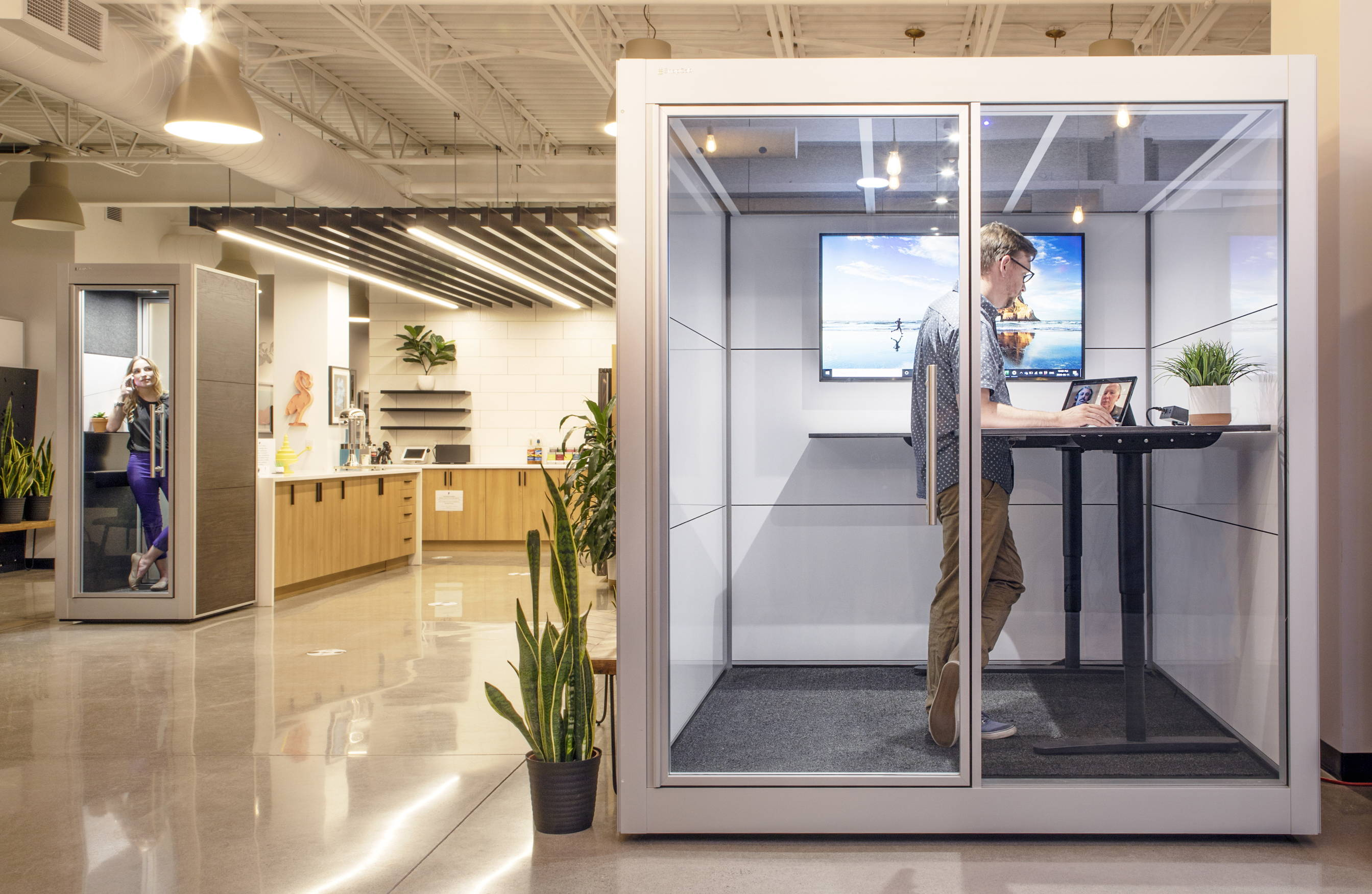 SnapCab's Work+ and Talk isolated office pods providing privacy at a coworking space