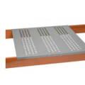 Perforated steel decking on pallet rack