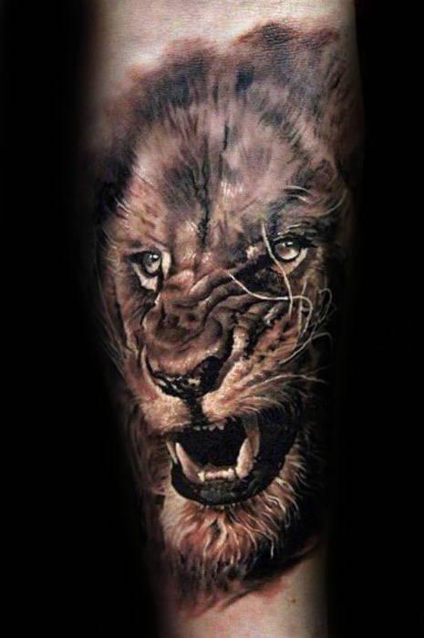 Tatouage Lion Rugissant Mollet Art