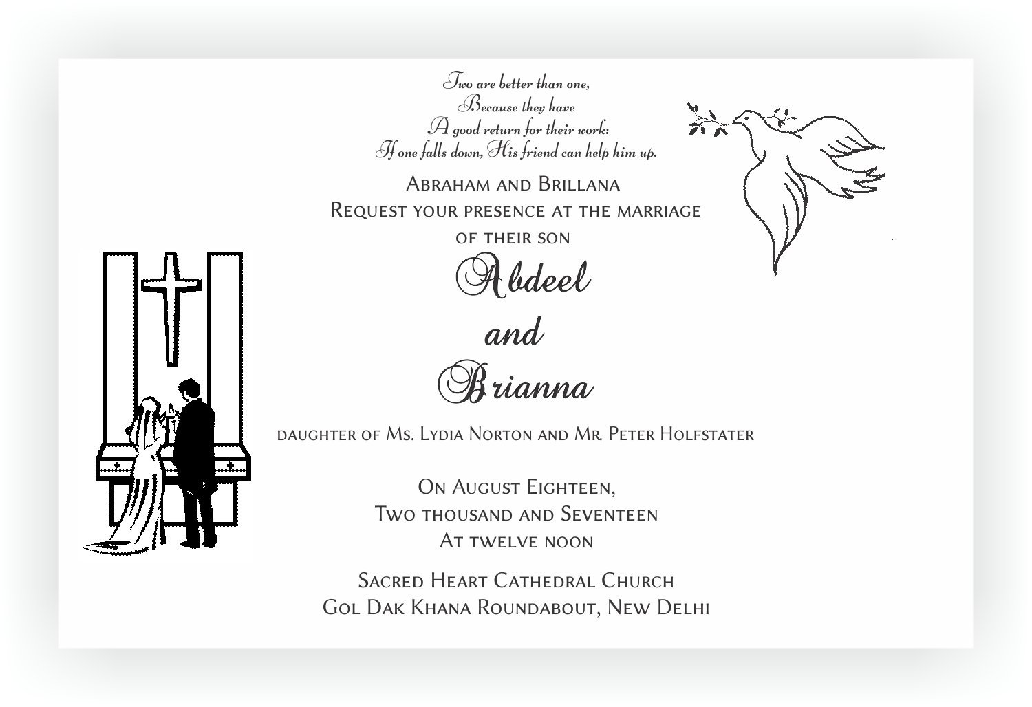 Christian Wedding Invitation Wordings Chococraft