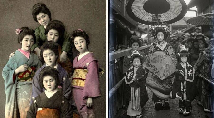 Geisha in subtle dress vs Oiran in extravagant dress