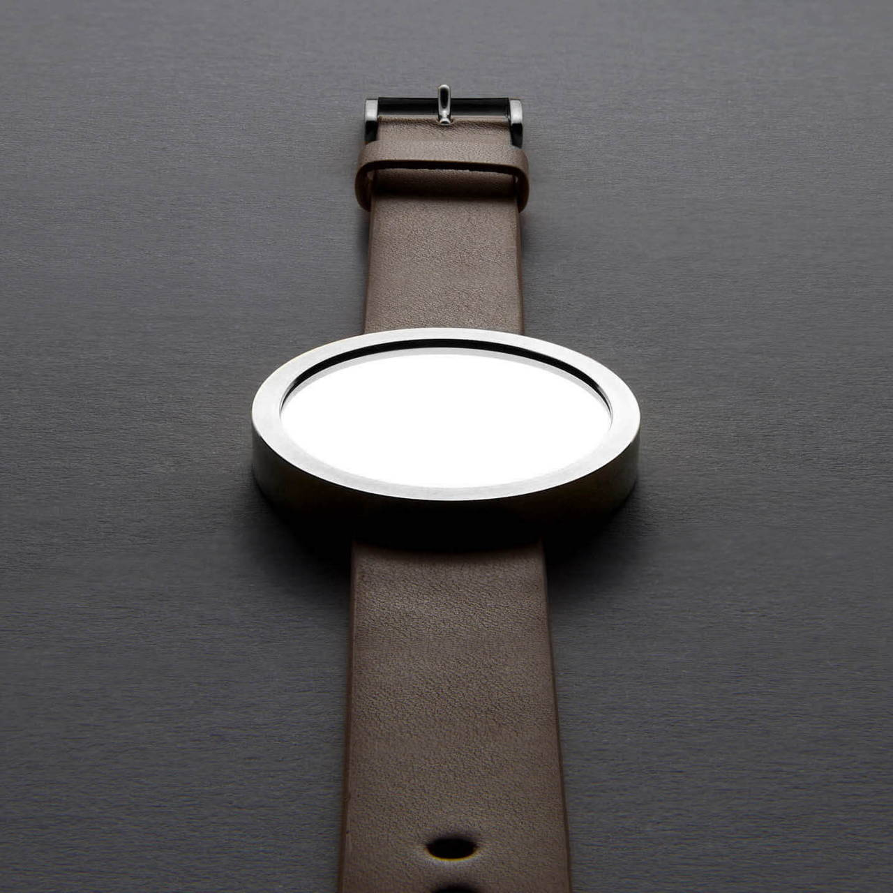 Timeless Wrist Mirror with Stainless Steel Case and Tan Leather Strap