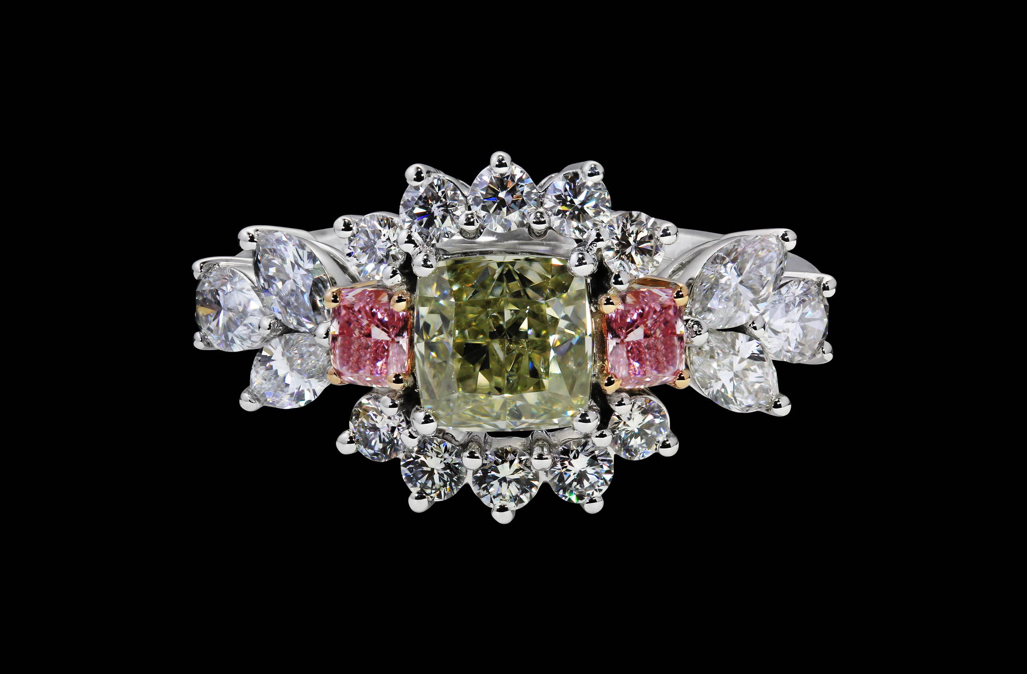 Floral Diamond Ring top view