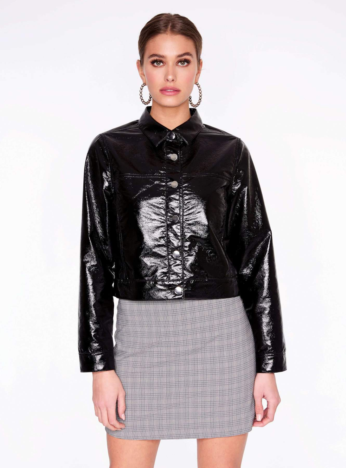 Black Faux Patent Leather Trucker Jacket