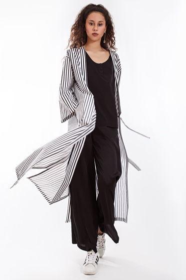 Полосатое кимоно с разрезами