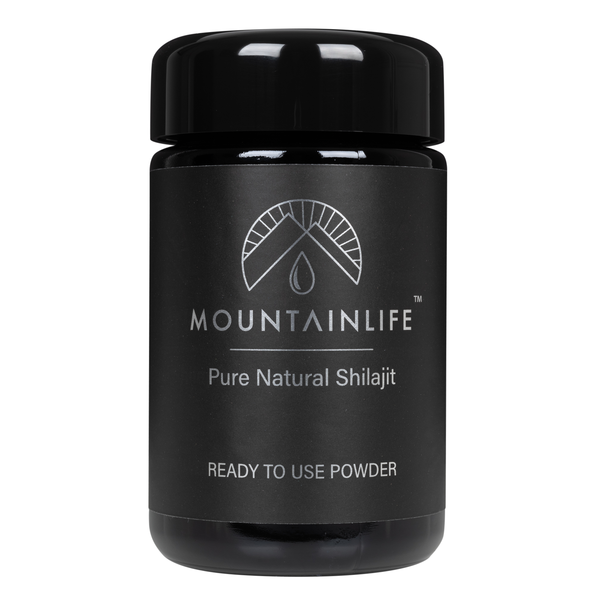 Mountainlife Natural Powdered Shilajit 50g UV jar with front on shot