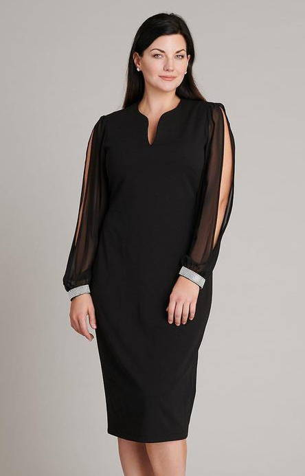 black chiffon sleeve with rhinestone cuffs black midi length dress in connected apparel lbd blog