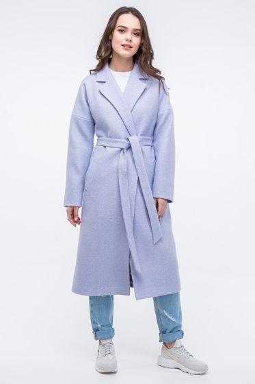 Женское пальто-халат лавандового цвета