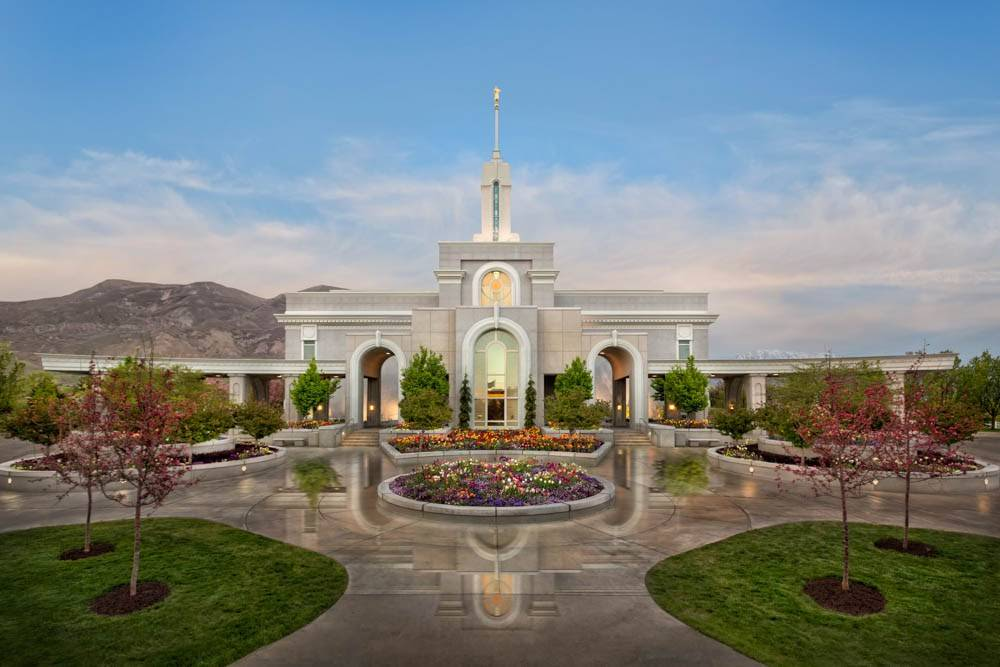 LDS art photo of the Mt Timpanogos Temple and grounds after a rainfall.