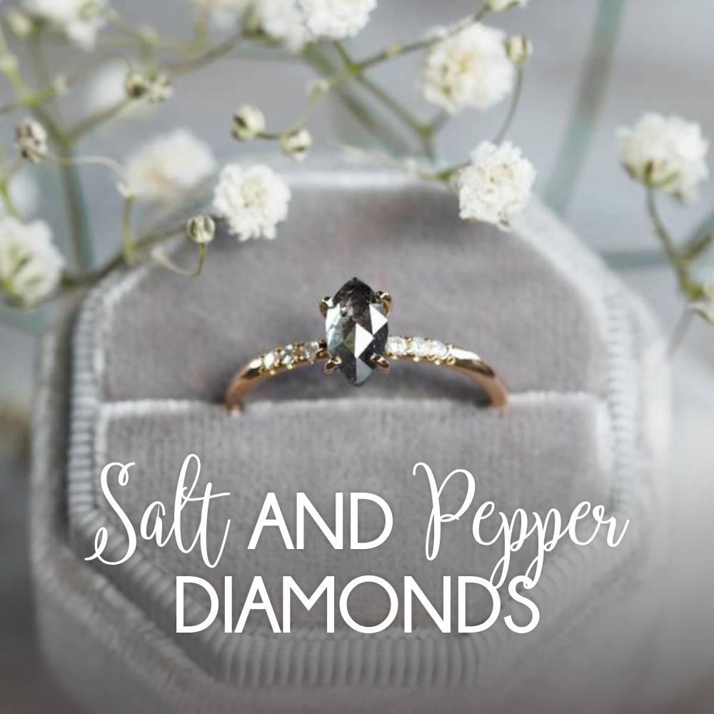 Custom ethical salt and pepper diamond ring guide.