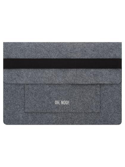 Чехол из фетра для MacBook и ноутбуков, темно-серый, горизонтальный с крышкой