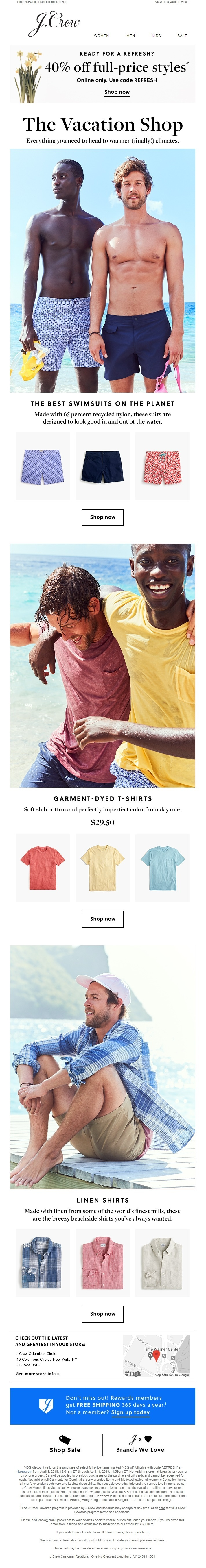 Using personalization and segmentation data, J. Crew clearly targeted men, possibly between the ages of 24-35.