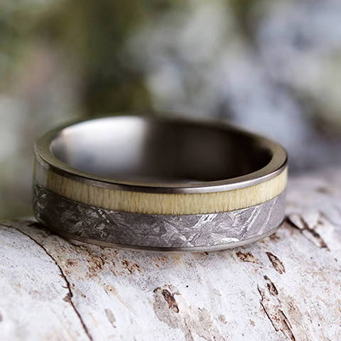 aspen titanium meteorite wedding band ring