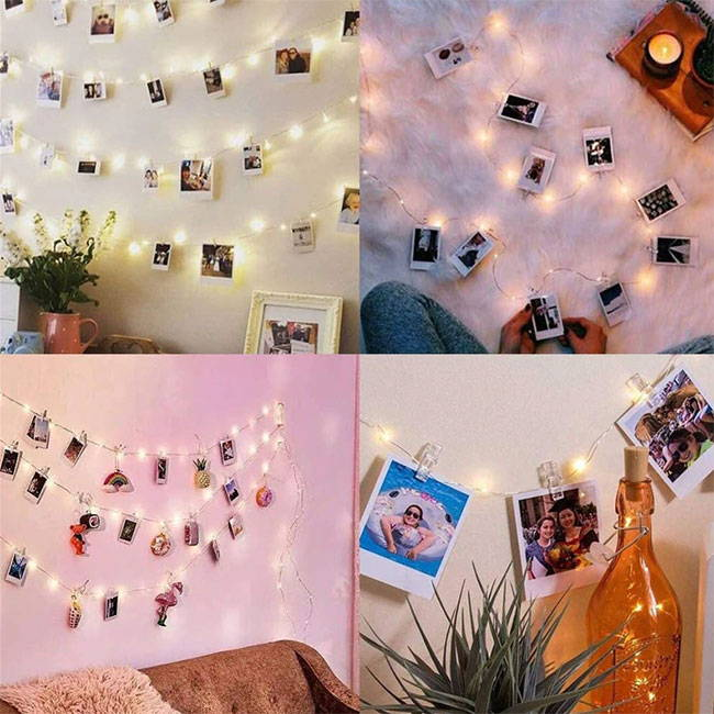 LED string light photo clips with fairy lights - ideal for fairy light decoration of your bedroom or living room, powered by batteries.