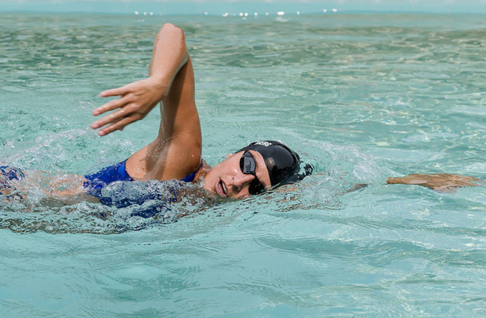 Olympic swimmer Kim Vandenberg swimming in the pool