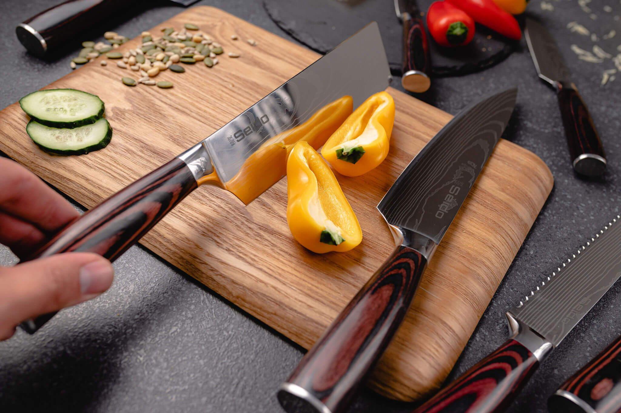 Seido japanese kitchen Chef knife cutting meat