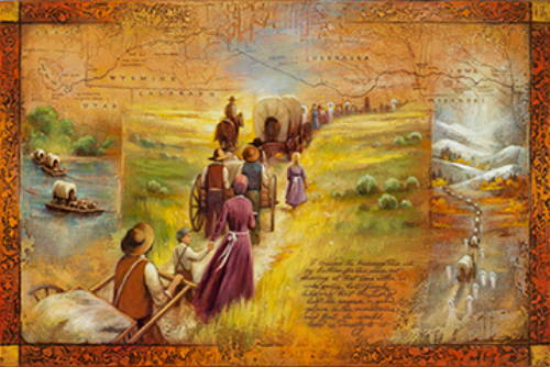 Triptych featuring the journey of the Latter-day Saint pioneers, showing river rafts, traveling, and snow.