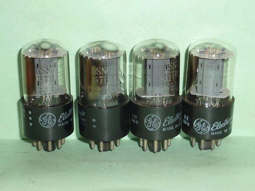 GE 6SN7GTB ECC33 6SN7 Tubes, Matched Quad, NOS Testing