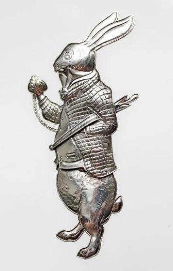 "Винтажная серебряная брошь ""Белый Кролик"" от Kit Carson"