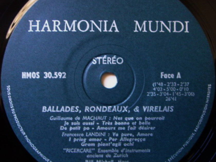 ★Audiophile★ Harmonia Mundi / RICERCARE, - Ballades, Rondeaux & Virelais, NM!