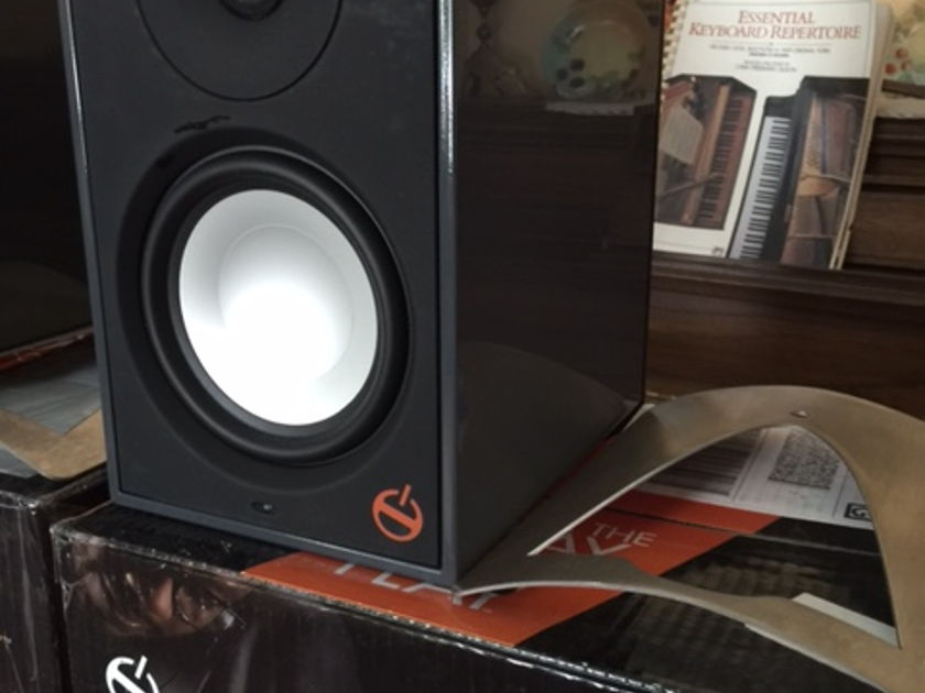 Paradigm Shift A2 rare gloss slate gray powered speakers with bases, reduced!