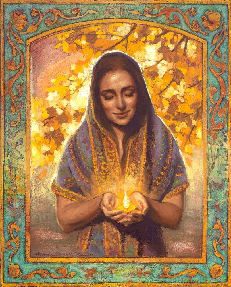 LDS art painting of a calm woman holding a glowing lamp.