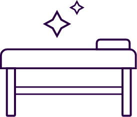 purple outline of table inside waxing suite