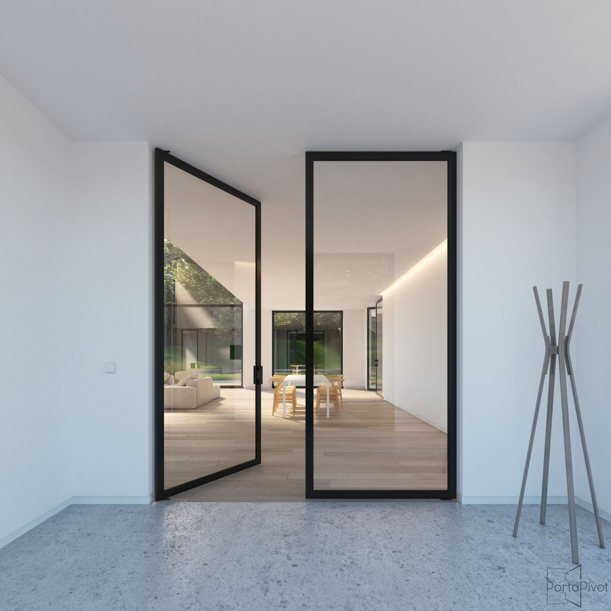 double glass pivot door with a black anodized aluminium frame