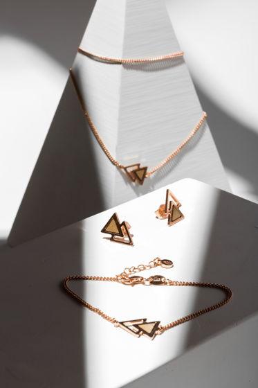 Браслет из розового серебра коллекция двойной треугольник