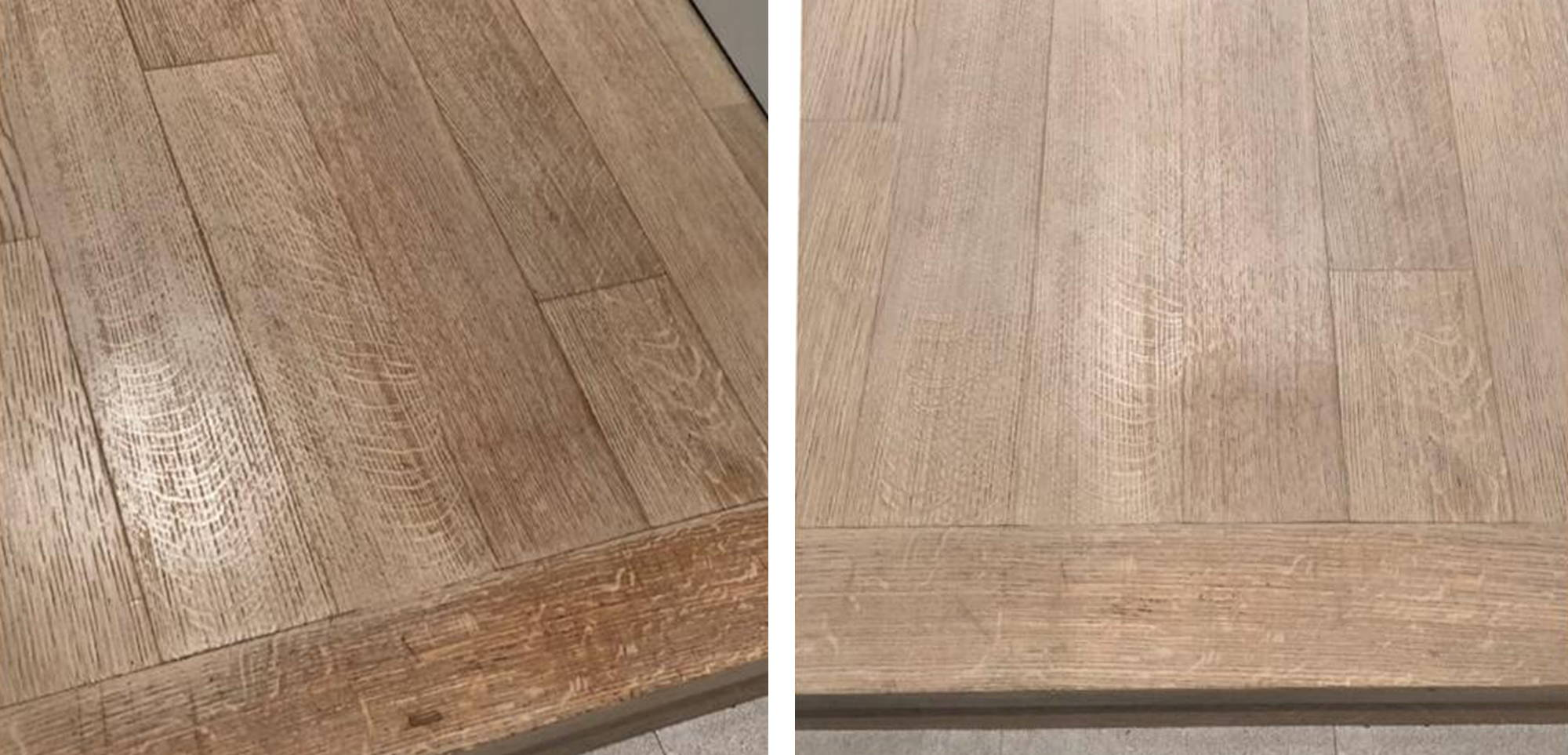 Before and after image of floor in Manhattan Beach residence