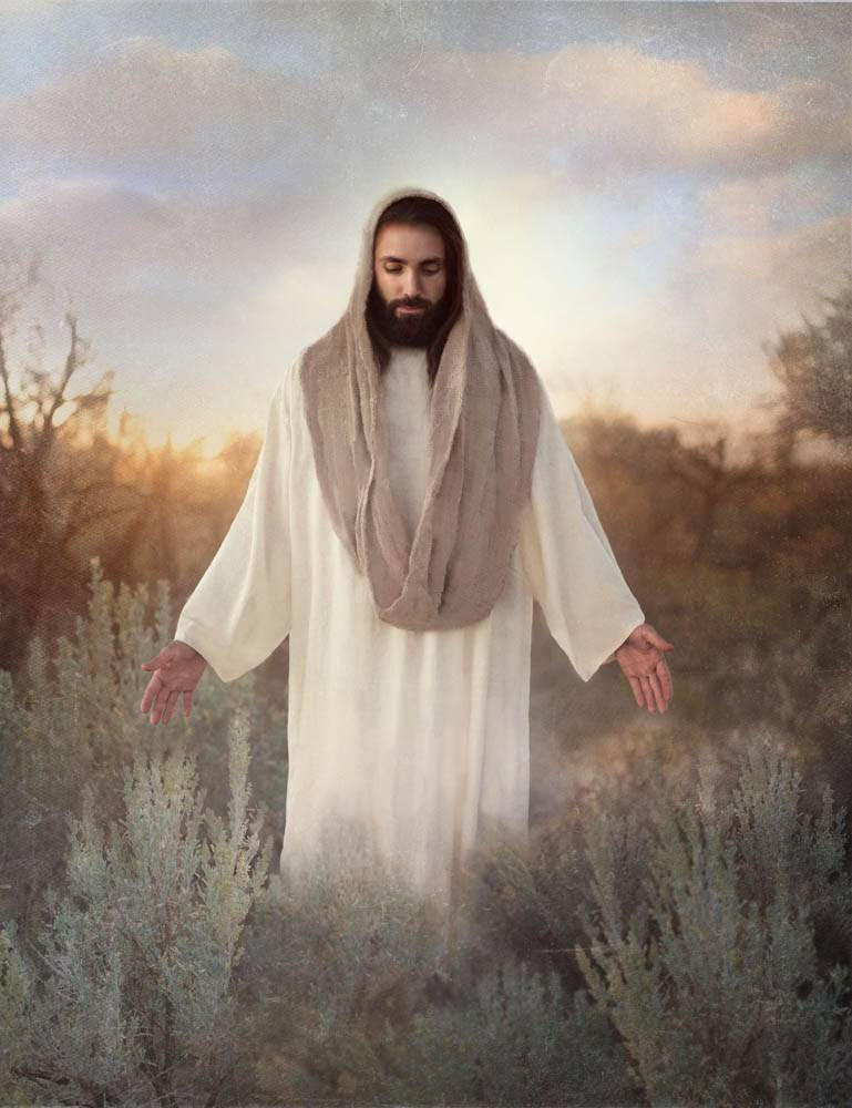 Beautiful painting of Jesus standing with His hands outstretchd.