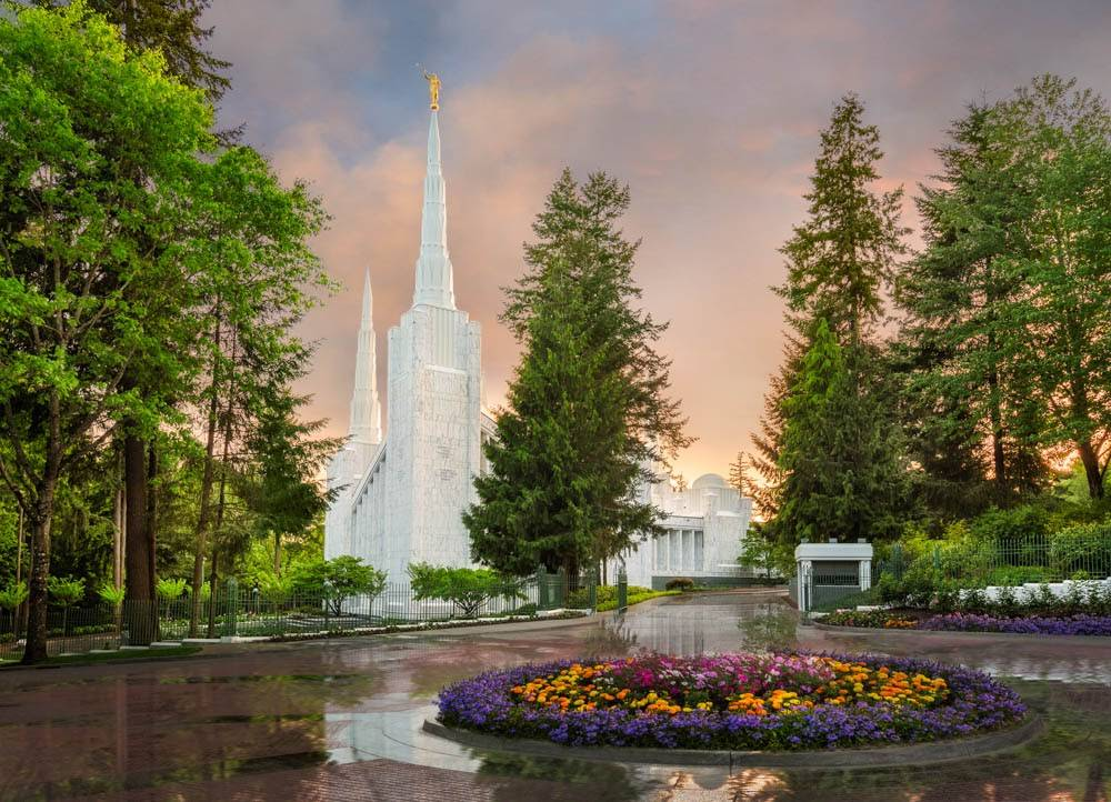 LDS art photo of the Portland Oregon Temple and grounds after rainfall.