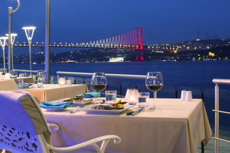 Dinner with most amazing panoramic view of the Bosphorus