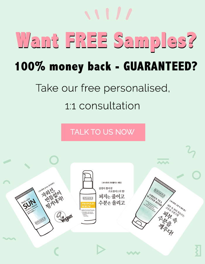 Take free consultation for free skincare samples and money back guarantee