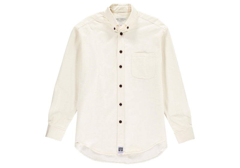 Men's white organic cotton brushed shirt from Lyme Terrace